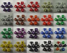 Opaque Poly 7 Dice RPG Set Red Blue Yellow Black White Purple Green Orange Brown