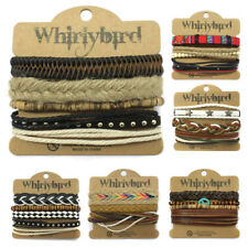 Mens Multi Layer Leather Surfer Womens Bracelet Casual Braided Wristband Bead