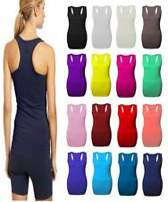 New Ladies Long Racer Back Bodycon Muscle Vest Women Gym Maxi Top UK Size 8-26.