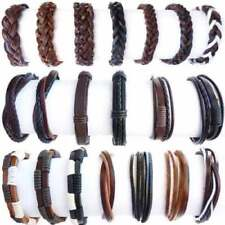 Mens Leather Bracelet Womens Casual Bead Set Braided Surfer Wristbands Rope Hook