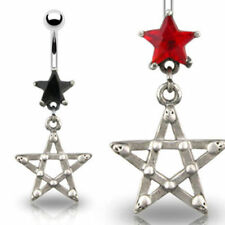 Belly Button Piercing Pentagram Star Gothic Zirconia Crystal Red or Black