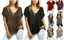 Ladies Women Turn Up Printed Loose Baggy v Neck Short Sleeve Shirt Fashion Top