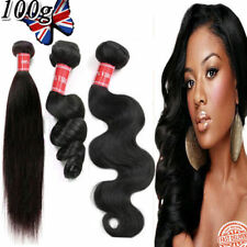 100g Brazilian Peruvian Real Virgin Human Hair Extensions Wefts Weave Remy