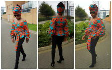 Towani Creations African Ankara Wrap Top With Exaggerated Puff Sleeve S M-3XL