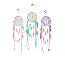 Handmade Boho Medium Crochet Feathered Dreamcatcher - Pink Blue Lilac