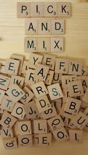 WOODEN SCRABBLE LETTERS TILES & NUMBERS 0-9 - PICK AND MIX 1-1000 *NEW* UK