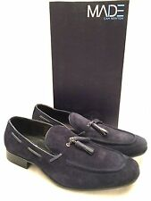 Mens MADE CAM NEWTON DURHAM Navy Suede Leather Tassel Loafers $140 New In