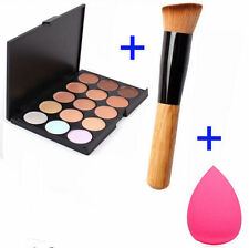 @15 Colors Makeup Contour Face Cream Concealer Palette+Powder Brush+Sponge GO
