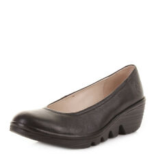 Womens Fly London Pump Mousse Black Leather Wedge Heel Shoes UK Size
