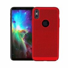 Red Slim Hollow Mesh Heat Dissipation PC Hard Case for iPhone X 8 8 Plus