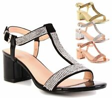 WOMENS BLOCK HEEL ANKLE BUCKLE STRAP DIAMANTE SANDALS LADIES PEEP TOE SHOES 3-8
