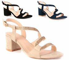 Womens Strappy Diamante High Block Heel Peep Toe Slingback Sandals Shoes Size