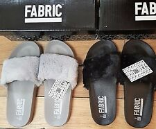 2 Pairs x Fabric Fur Sliders Size 7 (41) Black or Grey Brand New Boxed