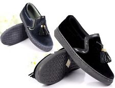 Womens Casual Sneakers Slip On Tassel Flat Fashion Trainers Shoes Size 3-8