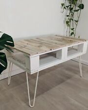 Reclaimed Wood Pallet Coffee Table with Storage Farmhouse Style Hairpin Legs