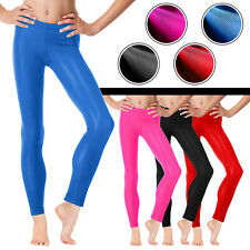 Girls High Waisted Shiny Dance Disco Leggings 5 to 12 Years Available in colors
