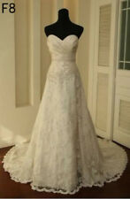 Vintage white/Ivory Lace Train Bridal Gown Wedding Dress Custom 6 8 10 12 14 16