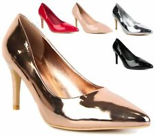 LADIES POINTED HIGH HEEL FAUX PATENT LEATHER SMART PARTY COURT SHOES PUMPS SIZE