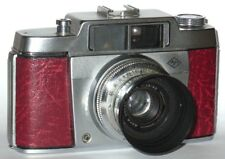 VINTAGE AGFA SILETTE CAMERA WITH LENS HOOD. RED LEATHERETTE