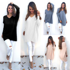 Womens Knitted Sweater Jumper Long Sleeve V Neck Plain Pullover Loose Cardigan