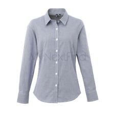 Premier Workwear Womens Microcheck (Gingham) Long Sleeve Cotton Shirt