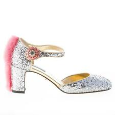 DOLCE & GABBANA scarpe donna shoes Decolletè Mary Jane in glitter argento visone