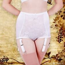 House Of Satin Suspender Full Brief White Lace Suspender Panel Garter Straps