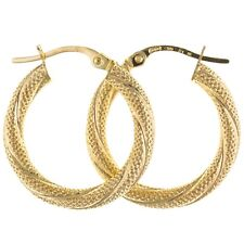 9ct Yellow Gold Textured Twist Creole Hoop Earrings Jewellery
