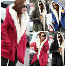 WOMENS WINTER WARM THICK FLEECE FAUX FUR COAT JACKET PARKA HOODED TRENCH OUTWEAR