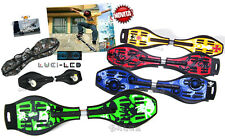 SKATE BOARD WAVE 2 RUOTE WAVEBOARD SKATEBOARD RUOTE LUCI LED TESCHIO