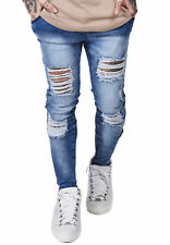 siksilk Vaqueros Hombre Skinny Distressed Denim ss-12460 AZUL MEDIO acid Lavado