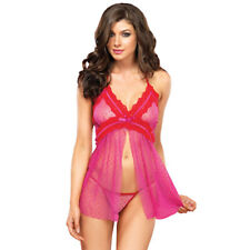 Leg Avenue Lingerie Dotted Sheer Flyaway Pink Babydoll And G-String