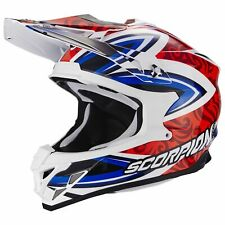 SCORPION vx-15 EVO AIR Revenge MOTOCICLETA CASCO CROSS - Blanco Rojo Azul
