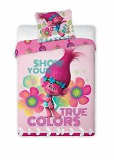 "Poppy trolls ""Show your true colors"" Panel reversible single bed duvet Quilt Cov"