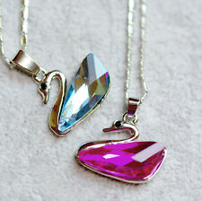Swan Silver Plated And Crystal Necklace Pendant