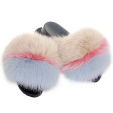 Cream-coloured Pink Light Blue Fox Fur Slides Fur Sandals Slippers With Real Fur