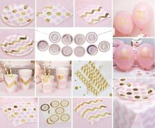 Pink Birthday Party Tableware Paper Plates Cups Napkins Balloons Chevron Girl