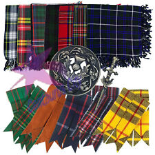"CC Kilt Fly Plaid 48"" X 48"" Scottish Highland Fly plaid Brooch/Flashes/Pin Set"