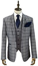 MEN'S BRITISH DESIGNER CAVANI GREY 3 PIECE BLUE CHECKED TAILORED FIT SUIT
