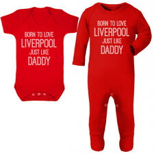 Born To Love Liverpool Like Daddy Baby Vest Grow Fathers Day Dad Gift Football