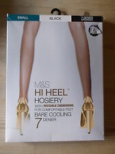 M&S 1 Pair 7 Denier 'Bare Cooling' HI HEEL Tights S Black BNWT
