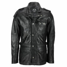 New Mens Classic Black Soft Wax Real Leather Smart Vintage Jacket Military Coat