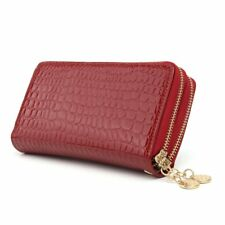 OURBAG Women Double Zipper Long Wallet Clutch Leather Card Coin Holder Purse Pho