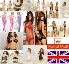Womens Sexy/Sissy Lingerie Lace Babydoll G-String Thong stockings Nightwear set