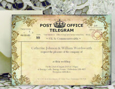 LARGE PERSONALISED WEDDING INVITATIONS 18x13cm Vintage Telegram F with Envelopes