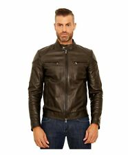 Giacca in pelle uomo U410 BIKER - Giacca in pelle nera trapuntata spalle