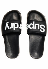Superdry Hombre Chanclas de baño piscina Slide Black Optic Blanco