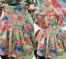 Baby Girl Pretty Floral Spring Summer Party Dress Fits 0-24 Mths BNWT