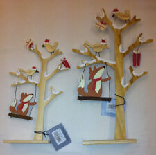 Fox on Swing Wooden Tree along with Birds and Gifts for Table Decoration