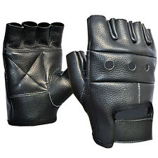 LEATHER HALF FINGER GLOVES BLACK GYM TRAINING WEIGHT LIFTING CYCLING GLOVE